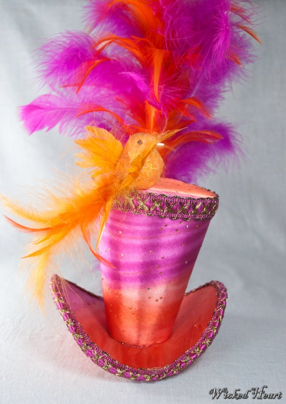 Hot Pink and Orange Satin Mini Top Hat