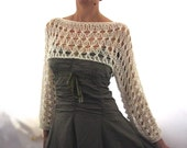 Cotton Summer Cropped  Sweater Shrug in Ivory color, hand knitted, ecofriendly, Loose knit cropped sweater