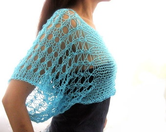 Cotton Summer Short  Sweater Shrug in Aqua blue  color, hand knitted, ecofriendly
