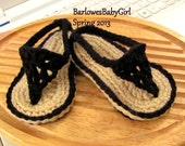 Buggs - Crochet Black Baby Thong Sandals - Pick Your Color
