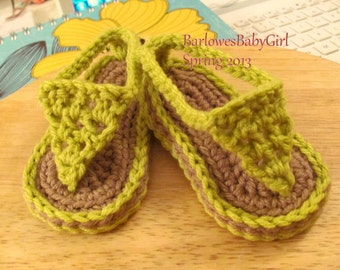 Buggs - Crochet Baby Flip Flop Sandals in Chartreuse or  Pick Your Color