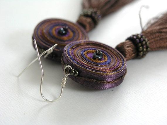 Dangle earrings brown purple, earrings long tassels - Handmade jewelry OOAK ready to ship