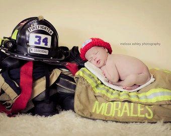 Fireman Hat Photo Prop Newborn Chunky First Picture