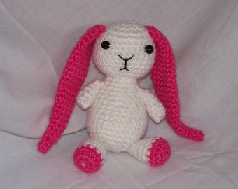 Little Pink and White Crochet Plush Bunny - FREE SHIPPING to United States