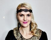 1920s black lace elastic headband