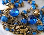 Deco Czech necklace Lapis Glass Peking Glass Necklace Long necklace