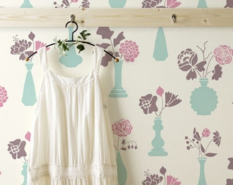 Floral Allover Wall Stencil Vintage Vases Damask Wall Stencil for Easy DIY Wallpaper Decor