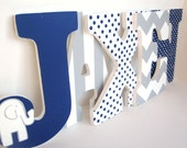 Navy Blue Elephant and Grey Chevron Letters - Boy Nursery Wall Decor, nine inch letters