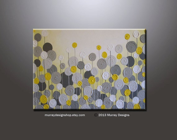 Yellow And Grey Wall Art Textured Painting Abstract