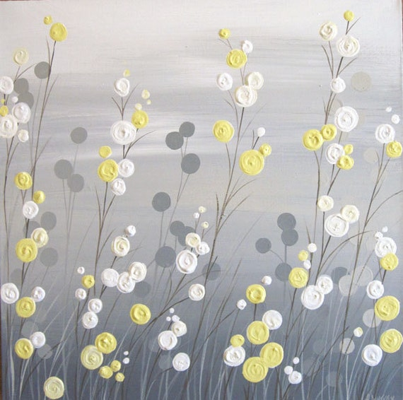 wall art yellow grey whimsical flower field by murraydesignshop. Black Bedroom Furniture Sets. Home Design Ideas