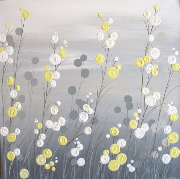 Grey And Yellow Wall Art wall art yellow grey whimsical flower field textured acrylic