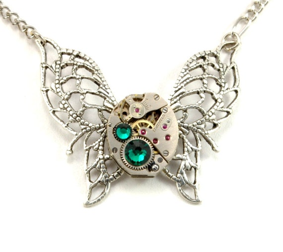 Steampunk Jewelry Necklace Steampunk Vintage Watch Necklace Butterfly Necklace Silver Emerald Steam Punk Jewelry By Victorian Curiosities