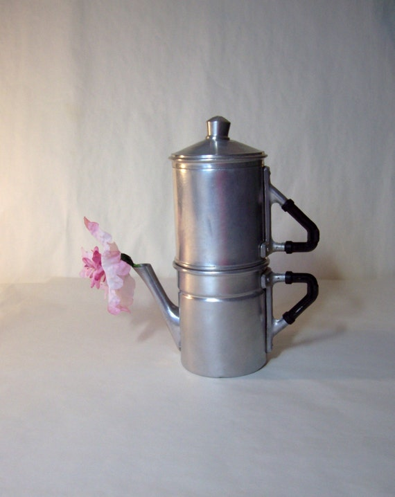 Neapolitan Flip Coffee Pot ~ Vintage neapolitan coffee pot flip top espresso maker