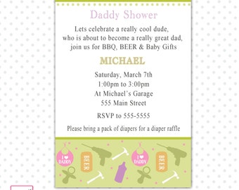 Daddy Shower Invitation Green  - Garage Tools Baby Shower Invite Printable Personalized Party Invitation