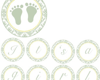 Damask Baby Shower Banner - Its a Girl Feet Green Sage Vintage Yellow Polka Dots Printable Party Decoration