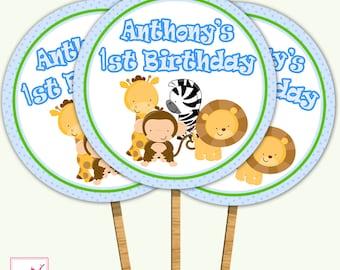 Printable Personalized Jungle Blue Birthday Cupcake Topper -  Safari Zoo Giraffe Zebra Lion Monkey Polka Dots Baby Shower Custom Boy Girl