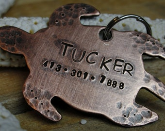 Copper Handstamped Pet ID Tag - Turtle Time