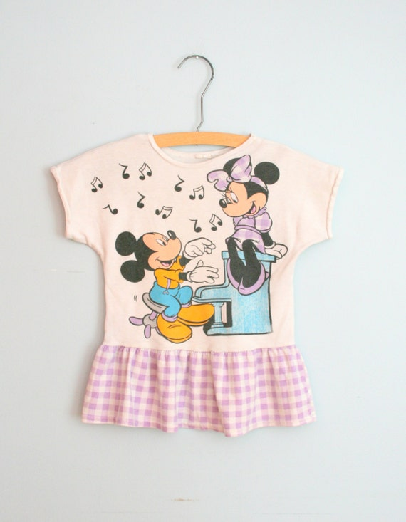 5 DOLLAR SALE/// Vintage MINNIE and Mickey Mouse Dress....size 3 4 girls....kids. children. walt disney. purple dress. retro. kitsch. music.