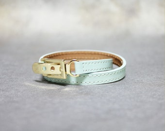 Belt Buckle Ornament Leather Bracelet(Mint)