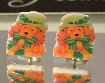 St. Patrick's Day puppy Stud Earrings