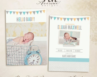 "INSTANT DOWNLOAD -- Skye 5x7"" Birth Announcement photo templates"