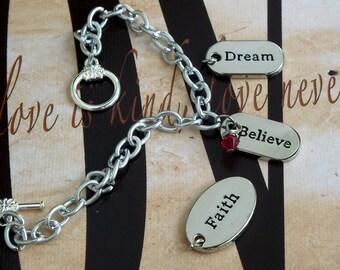 Faith - Dream - Believe - Alcohol Prevention, Heart Disease, HBP, Hypertension Awareness Charm Bracelet