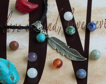 Natural Gemstone Feather Good Luck Chakra Pendant