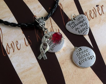 Alcohol Prevention, Heart Disease, HBP, Hypertension  Awareness 'Never Never Give Up' or 'You Are Always In My Heart' Charm Pendant