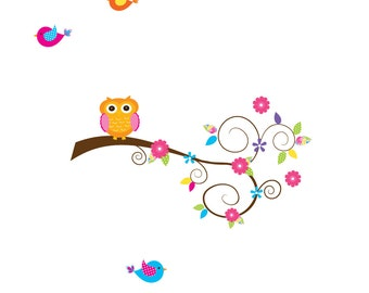 Vinyl Wall Decal Branch with Owl Birds-Children Wall Decor Sticker Decal