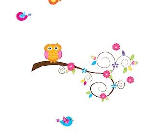 Vinyl Wall Decal Branch with Owl Birds-Children Wall Decor Sticker Decal-e104