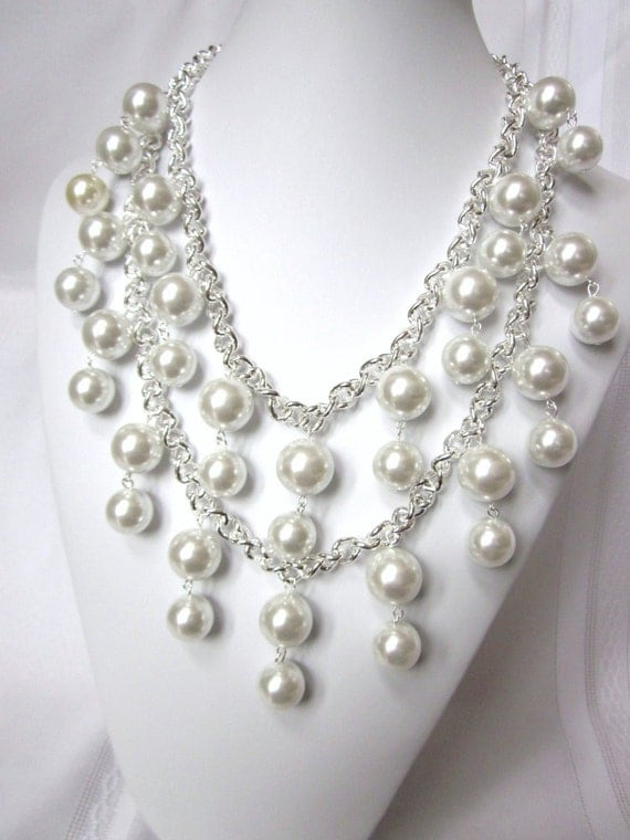 """2 Broke Girls Necklace - The """"Silver Caroline""""- Inspired by the 2 Broke Girls TV Show, Silver Chain and Glass Pearls, and Earrings"""