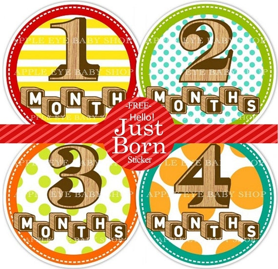 Baby Monthly Stickers PLUS Just Born (1st Year  WOOD Blocks and numbers) Neutral Colors boy or girl- yellow.brown.green.red.orange