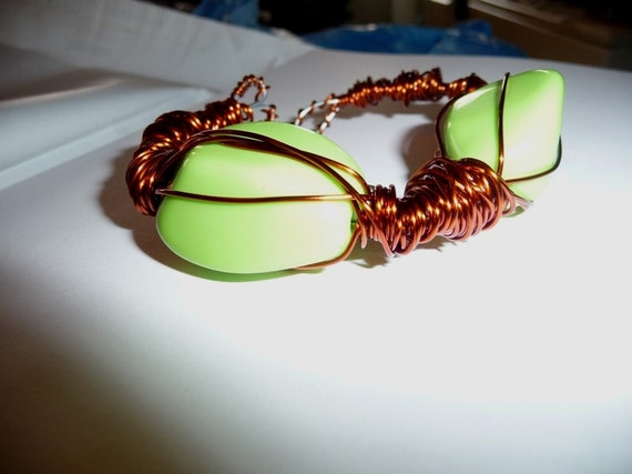 Bracelet copper plated enameled, wire wrapped, green, adjustable, wire work, statement, boho, hippie, modernist, artisan,