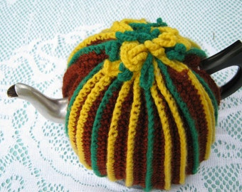 Vintage Tea Cozy - Stripey - Brown, Yellow and Green - Vintage Style for your teapot.
