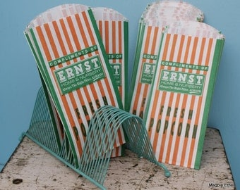 Old Store Stock/Vintage Popcorn Bags, Green and Orange from Ernst - 25 bags