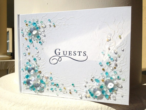 """Hand decorated beach wedding guest book in blue and white, 8.5""""x 6"""" or 11""""x10"""" with a pen attached, wedding reception for your guests"""