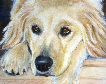 Custom painting of golden retriever /pet painting  /pet portraits/ gift for him