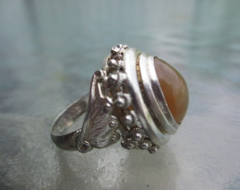 Vtg Antique Huge Gypsy Ring Fine Silver Agate Ring  7.5