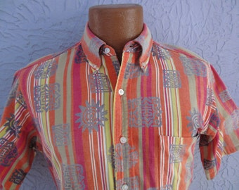 60s Vintage Men's Mod Rainbow Sun Shirt med slim
