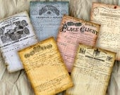 Antique French Invoices Receipts ATC ACEO size Old Paper Ephemera France Paris Documents Shabby Chic Decoupage Digital Collage Sheet 356