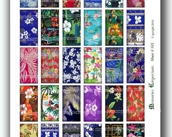 Hawaiian Shirt Fabrics 1 x 2 inch Domino Tile Rectangles Decoupage Digital Collage Sheet Instant Download 103