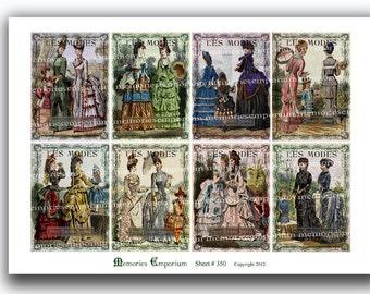 French Fashion Design Les Modes Antique Dresses Clothes Shabby Chic Paris Mothers Daughters Children 1800s Digital Collage Sheet 350