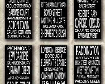 London Train Stations Black and White Destination Rolls Signs Decoupage Scrapbooking Bookmarks Book Marks Digital Collage Sheet Download 228