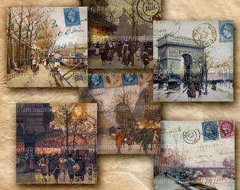 Paris Street Scenes Paintings Vintage Decoupage Squares 2.5 inches Old French Postal Stamps Digital Collage Sheet Printable Download 241