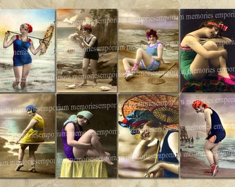 Beach Bathing Beauties Belles Vintage Swimming Bathing Suits Costumes Sea Sand Waves Digital Sheet ACEO ATC Instant Download 021