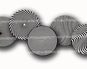Psychedelic Black and White Pop Art Circles Retro Mod 1960s 60s Sixties Digital Colage Sheet Printable Instant Download 427