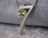 Four Leaf Clover necklace Handmade Saint Patrick Irish shamrock 4  Four Leaf Lucky Clover in resin Number Seven necklace Free Shipping