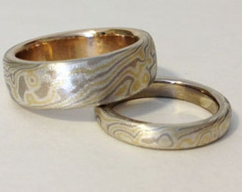 Tri Color mokume gane wedding band set yellow gold white gold and sterling matte finish
