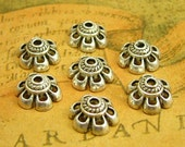 50 pcs Antique Silver Bead Caps 10mm Jewelry Making CH1474