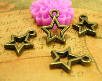 50 pcs Antique Bronze Star Charms 12x10mm CH1519